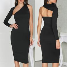 Solid Black One Sleeve Bodycon Dress Elegant Dresses, Sexy Dresses, Nice Dresses, Evening Dresses, Casual Dresses, Short Dresses, Fashion Dresses, Classy Dress, Classy Outfits