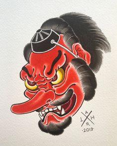 Tengu Tattoo, Hanya Tattoo, Demon Tattoo, Irezumi Tattoos, Japanese Tattoo Designs, Japanese Tattoo Art, Japanese Art, Dragon Tattoo Art, Dragon Sleeve Tattoos