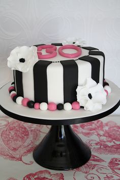 Monochrome 30th cake by Cotton and Crumbs, via Flickr