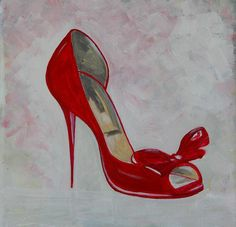 Red Bow Shoe Painting by Glen Victor Doyle