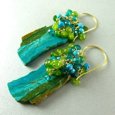 Peruvian Blue Opal Slices Turquoise Jade and Quartz by SurfAndSand, $154.00