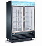 Vortex Refrigeration Commercial 2 Glass Door Black Merchandiser Freezer - 45 Cu. Ft.