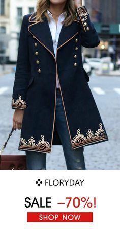 Buy Coats, Online Shop, Women's Fashion Coats for Sale Modest Fashion, Fashion Dresses, Cool Outfits, Casual Outfits, Military Style Jackets, Long Sleeve Turtleneck, Military Fashion, Jacket Style, Blouse Designs
