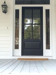 Farmhouse Front Door. Classic 4-Pane Door. Painted Black Front Door. Light Gray a Painted Porch Floor.
