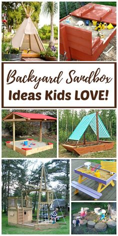 DIY and ready-made Backyard sandboxes are amazing outdoor sensory backyard play spaces for kids. Tips, tutorials, and hacks for several backyard sandbox ideas for kids are included.