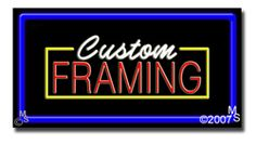 "Custom Framing Neon Sign - 20"" x 37""-ANS1500-2248-R  37"" Wide x 20"" Tall x 3"" Deep  Flashing Border ""ON/OFF"" switch  Sign is mounted on an unbreakable black or clear Lexan backing  Top and bottom protective sides  110 volt U.L. listed transformer fits into a standard outlet  Hanging hardware & chain included  6' Power cord with standard transformer  For indoor use only  1 Year Warranty on electrical components."