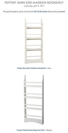 COPY CAT CHIC FIND: Pottery Barn Kid's Madison Bookshelf VS Target's Bently Book/Magazine Rack