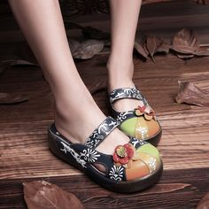 Fashion Ethnic Women's Leather Flip Flops Flower Sandals Slippers Round Toe Shoe | eBay