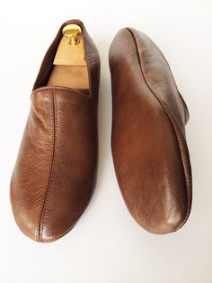 Hazelnut brown-leather slippers-soft comfy by turkisharts on Etsy