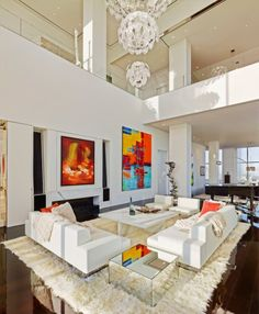 The high ceilings in the living room make the area feel extra spacious.