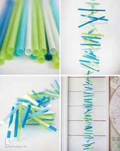 DIY drinking straw garland. Great art project for kids. Also good for birthdays and holidays. Would look like red, white, and blue fireworks for the 4th of July.