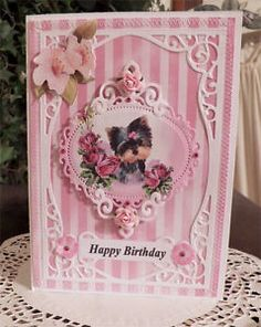 Craftecafe Pink Stripe Yorkie puppy / dog Birthday Card with envelope CTD