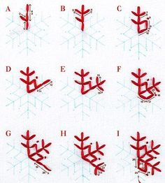 Embroidery Ribbon Easy Embroidered Holiday Table Runner - Create a holiday heirloom you'll treasure for years using two crisp white linen runners, then finish the edges with a red border and embroider a snowflake design at the ends. Snowflake Embroidery, Snowflake Pattern, Ribbon Embroidery, Embroidery Stitches, Embroidery Designs, Christmas Embroidery Patterns, Easy Snowflake, Christmas Patterns, Felt Crafts
