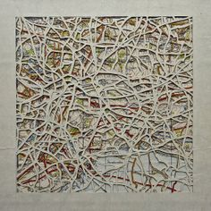 Jurassic Square stacked hand cut map art Lyme Regis by emmaporium, £35.00