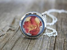 Real Rose, Rose Necklace, Real Rose Necklace, Dried Rose Necklace, Real Rose Petals, Rose Petals Necklace, Rose Glass Locket, Real Flowers