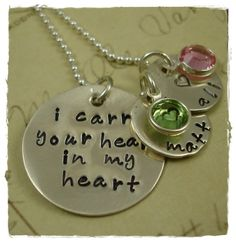 Items similar to I Carry Your Heart In My Heart Hand Stamped Necklace 4 Name Charms Remembrance Grandma Mom Mommy Sterling on Etsy Hand Stamped Necklace, Dog Tag Necklace, Washer Necklace, I Carry Your Heart, My Heart, Family Necklace, Heart Hands, Ball Chain, Jewelry Design