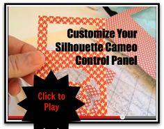 Short video to show how to customize your #Silhouette #Cameo control panel.