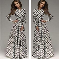Elegant Long Sleeve Plaid Maxi Dress – Daisy Dress For Less