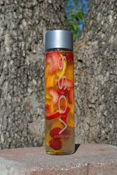 strawberry and orange in a Voss Bottle