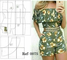 jumpsuit pattern with shoulder frill Fashion Sewing, Diy Fashion, Fashion Outfits, Sewing Pants, Sewing Clothes, Dress Sewing Patterns, Clothing Patterns, Jumpsuit Pattern, Diy Clothing