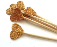 24 Gold Glitter Heart Party Picks  Cupcake Toppers by NikkiCrafts, $2.50