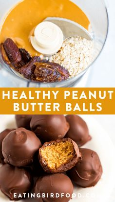 Diet Snacks Make healthy peanut butter balls with only 5 simple ingredients: peanut butter, oats, dates, chocolate and coconut oil! No powdered sugar or butter needed. These peanut butter balls are dairy-free, gluten-free and vegan! Vegan Sweets, Healthy Sweets, Healthy Dessert Recipes, Gluten Free Desserts, Health Desserts, Healthy Baking, Whole Food Recipes, Recipes With Dates Healthy, Date Recipes Vegan
