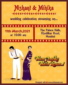 If you are a big Bollywood fan and want to fill up your wedding festivities with Bollywood romance then start your wedding fiesta with this Bollywood theme wedding invite. For order👇 WhatsApp: +919878949765 +918699033138 📧: hello@wishnwed.com Website: www.wishnwed.com .@wishnwed @beingsalmankhan @madhuridixitnene . #wishnwed #wishnwedinvites #salmankhan #madhuridixit #bollywood #bollywoodfans #bollywoodtheme #bollywoodwedding #weddingInvitation #indianweddinginvitations Bollywood Theme, Bollywood Wedding, Indian Wedding Invitations, Invite, Wish, Romance, Fan, Photo And Video, Website