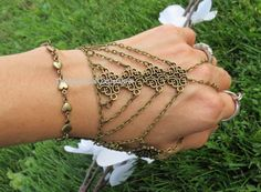 #BraceletRing #TribalBracelet #SlaveBracelet #HandChain #HandBracelet #HandFlower #HeartBracelet #HeartJewelry #BodyJewelry Sized Hand Bracelet Hand Chain Body Chain by TheMysticalOasisGlow