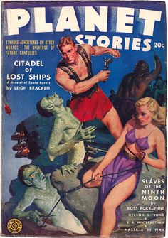 Planet Stories - March 1943 issue.  Action-packed cover art by Jerome Rozen.