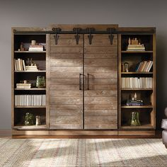 Barn door bookcase sliding barn doors on entertainment center surely i can build this right how . Barn Door Bookcase, Wooden Pallet Furniture, Pallet Wood, Recycled Furniture, Tv Decor, Home Decor, Entertainment Center Kitchen, Up House, Sliding Glass Door