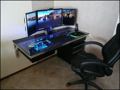 An idea for a custom built PC desk rig with all the bells & whistles, adds geek cred to the PC/gaming room~