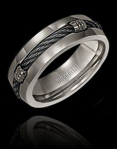 Bridal Wedding Bands Fancy Bands Edward Mirell Titanium with Sterling Silver Textured Line Step Edge 7.5mm Band Size 10