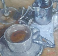 MINI OIL PAINTING – DOS CORTADOS (TWO COFFEES)