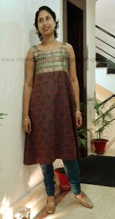 Day 26: Brocade kurta with borders of fabric used to make body and rest of brocade for A-line skirt