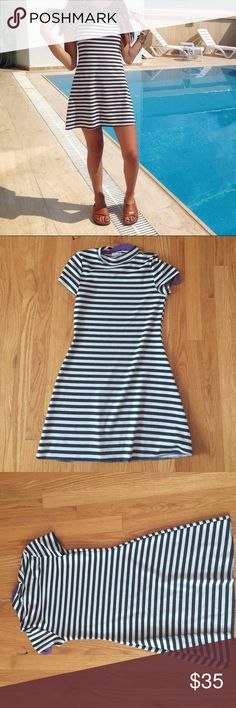 Striped Mini Dress High neck striped mini dress. Super comfortable and cute! Free People Dresses Mini