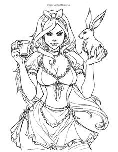 Grimm Fairy Tales Adult Coloring Book Pages Sketch Coloring Page Adult Coloring Book Pages, Printable Adult Coloring Pages, Coloring Pages To Print, Colouring Pics, Coloring Books, Dibujos Pin Up, Alice In Wonderland Drawings, Arte Dc Comics, Desenho Tattoo