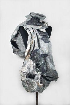 Felted Scarf Grey Scarf Nunofelt Wrap Artistic Shawl by filcant, $119.00
