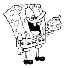 Desenho Colorir Bob Esponja - comendo hamburguer