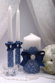 Unity candle Blue Unity candle set Wedding unity candle by VIZZARA Big Candles, Wedding Unity Candles, Floating Candles, Pillar Candles, Candels, Hanging Candles, Beeswax Candles, Wedding Decorations, Christmas Decorations