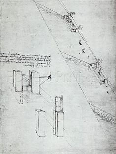 A Design For A Canalisation Scheme, Folio 33v-A From The Codex Atlanticus, 1478-1519 Giclee Print Poster by Leonardo Da Vinci Online On Sale at Wall Art Store – Posters-Print.com