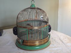 Vintage Hendryx Brass and Japanned Green Beehive Bird Cage with Black Ceramic Seed Water Cups. Functional Cage. #1010