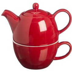 Price & Kensington Bright Red Tea For One Set (39.290 COP) ❤ liked on Polyvore featuring home, kitchen & dining, teapots, kitchen, filler, tea for one pots, tea for one teapot, stoneware teapot, red tea pot and red teapot