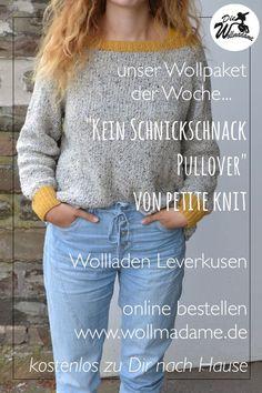 ab 40,-€ / Lang yarns Italian Tweed & Merino 120 für den no frills sweater (auf deutsch: kein schnickschnack Pullover) Größe XS -XL  Du brauchst noch eine 4mm Stricknadel Die deutsche Anleitung ist nicht im Wollpaket enthalten. Du kannst Sie bei ravelry kaufen, auch als Gast ;)  Der No Frills sweater von der Designerin petite knit ist einfach zu stricken - Du wirst deinen Pulli von oben arbeiten mit Hilfe von Raglanzunahmen.  #pulloverstricken #langyarns #wollpaket #wolleonlinebestellen Tweed, Lang Yarns, No Frills, Ravelry, Skinny Jeans, Knitting, Fashion, Knit Sweaters, German