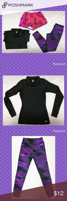 3 piece active wear set This girls active wear set includes the following items:?  Item#1) Brand: BCG? Black long sleeve workout shirt with insulation. The sleeves have openings to put your thumb through and partially cover your hand.? Size: Women's XS?  Item#2) Brand: Champion C9? Black & purple active wear tights.? Size: 10-12?  Item#3) Brand: Champion C9? Multi-color purple,pink,red, black workout/running shorts. They have a panty liner inside.? Size 10-12?  All items are used and…
