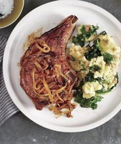 Brined Pork Chops With Sweet Onions and Potato-Kale Mash 11/8/15 - Not bad. Didn't brine in salt, as recommended.