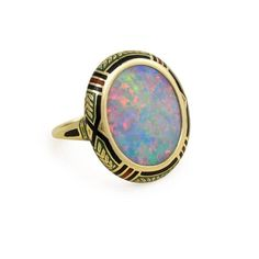 Antique Opal Enamel Gold Ring