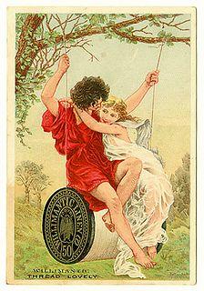 Ad for thread with lady & man swinging on thread spool