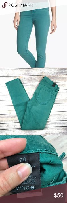 "Vince. Skinny Ankle Colored Mid Rise Jeans Vince. skinny ankle jeans in deep sea green Size 26. Waist 26"" Inseam 27"" Outseam 36"" Rise 8"" Leg opening 10"" Excellent used condition, no flaws. MSRP $220 NOTE: There are some areas that have a more yellowish tint but it looks like it is just part of the wash/color (last 2 photos) All measurements are approximate. Smoke free home. Vince Jeans Skinny"