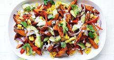 Southern-style sweet potato salad This vibrant salad combines the flavours of sweet potato, charred corn, creamy avocado and a zingy buttermilk dressing for a moreish Christmas side that won't disappoint! Salad With Sweet Potato, Potato Salad, Buttermilk Dressing, Routine, Salad Ingredients, Cooker Recipes, Southern Style, Southern Salad, Salad Recipes
