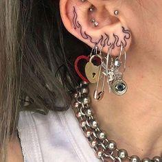 40 ear tattoos a lot cooler than piercings Grunge Tattoo, Punk Tattoo, Rebellen Tattoo, Tumblr Tattoo, Yakuza Tattoo, Flame Tattoos, Cute Tattoos, Aesthetic Tattoo, Aesthetic Grunge